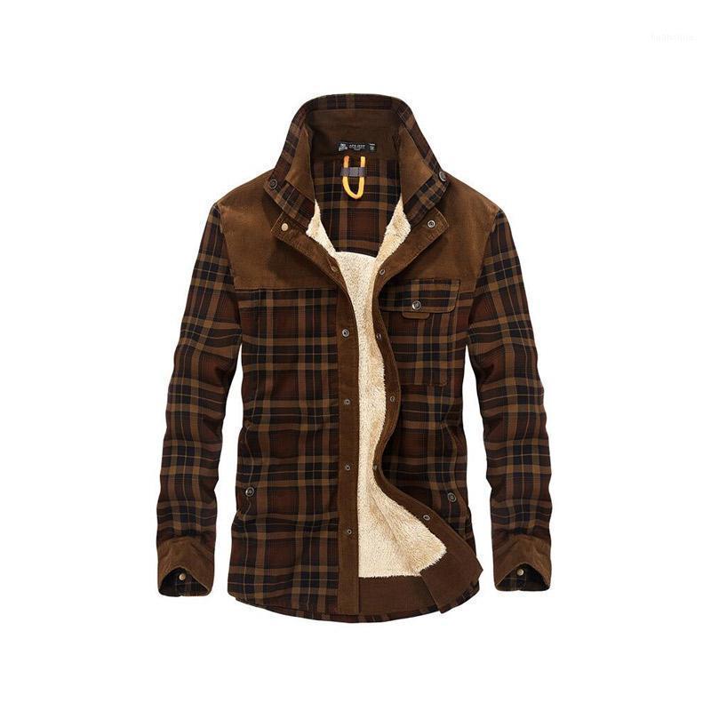 2018 Dropshipping Hommes 100% coton Doublure Casual Hiver Jacke Hommes Vêtements de dessus Vêtements Plaid Plaid Plaque de laine de laine Automne Winter Mollet Jacket1