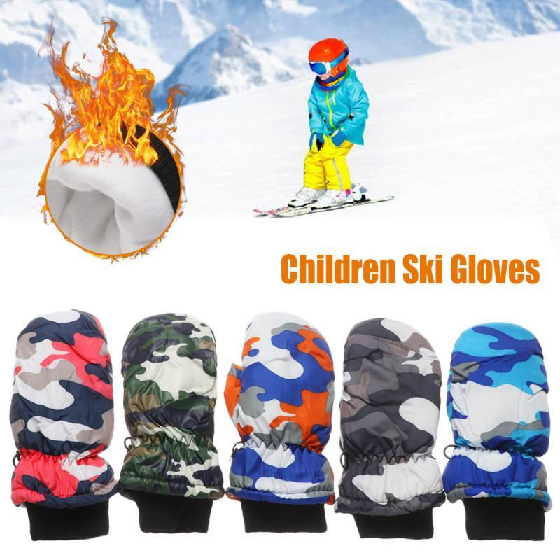 1 para Zima Dzieci Dzieci Śnieg Ciepłe Rękawiczki Chłopiec Girl Ski Snowboard Wiatroszczelna Wodoodporna Zagęszczona Utrzymuj Ciepły Miłośnik z długim rękawem