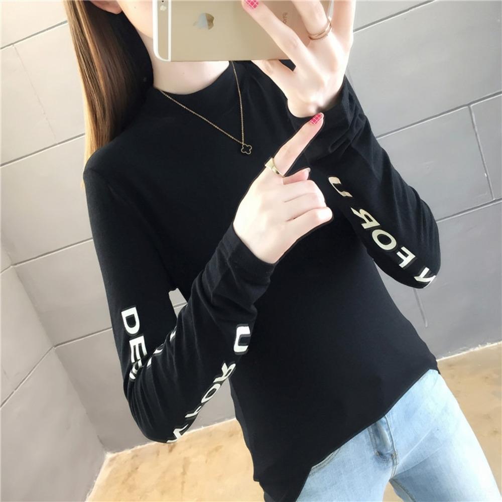 Kadınlara 2020 yeni uzun kollu tişört basit yvMQI için 43IHR 2020 eğilim mektup Tslim yarı yüksek yakalı baz gömlek