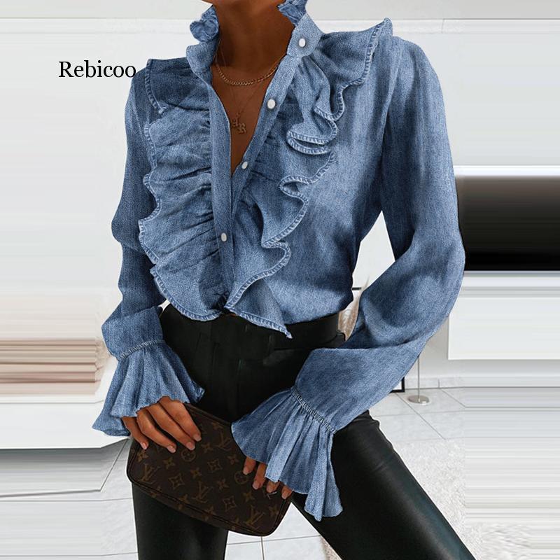 Zarif Kadın Fırfır Boyun Şifon Bluz Bahar Uzun Flare Kol Gömlek Bluz Gündelik Yaz Ofis Bayan Düğmesi Blusa Mujer Tops