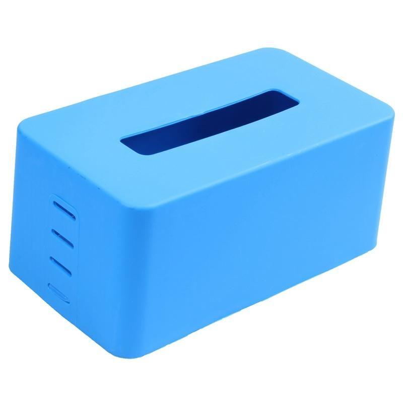rectangular Plastic tissue napkin box toilet paper dispenser case holder home office decoration (blue) 21.5*9.3*12cm