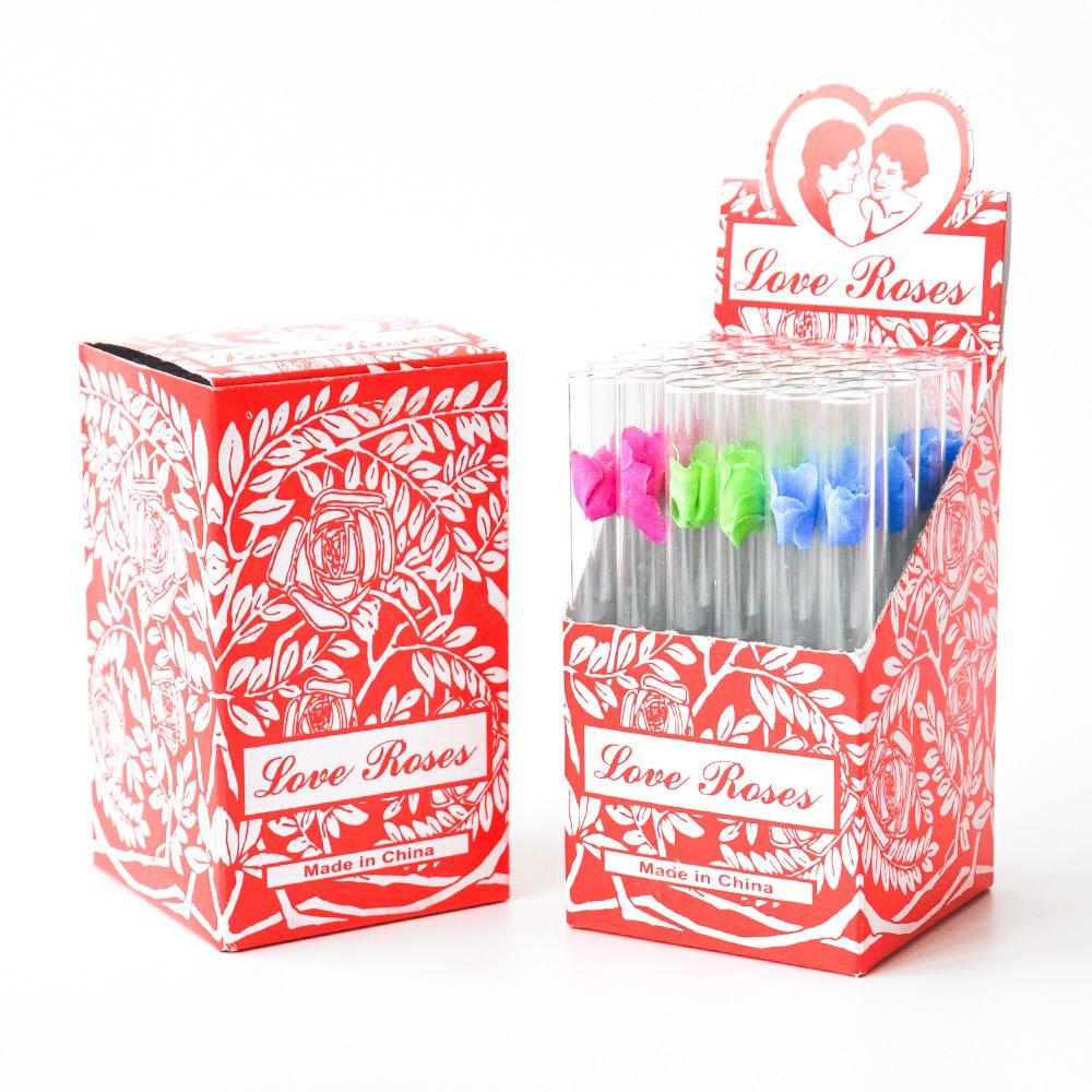 Стеклянная Любовь Rose Стеклянная трубка с пластиковыми цветок внутри 36pcs в одной коробке стеклянный дым трубочного табака трубы дыма принадлежности
