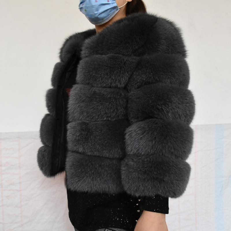 Natural 50CM Real Fox Fur Coat Women Winter Vest Jacket Fashion Outwear Real Fox Fur Vest Coat Free Shipping 201016