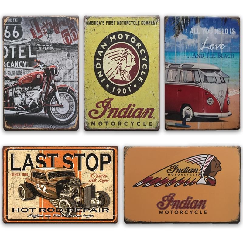 2021 Moto drôle Moto Indien Métal Mur Art Tin Signe Plaque Métal Vintage Garage Home Decor Rétro route 66 Caractère en fer Décoration de peinture