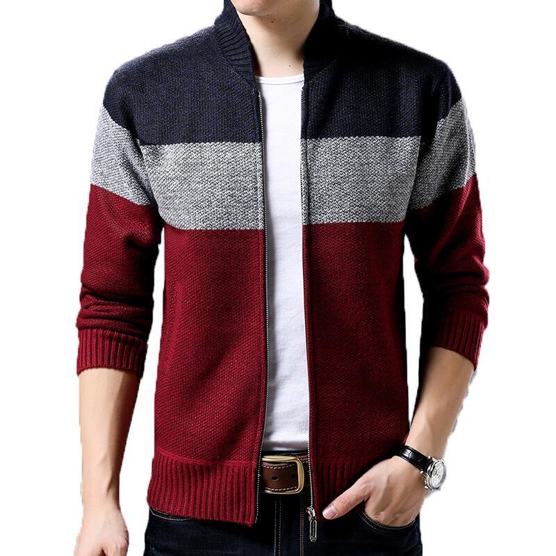 2021 New Men's Blouse Cardigan Knitting Man's Casual Wool Warm Winter Zipper Even Male Sweaters U0ma