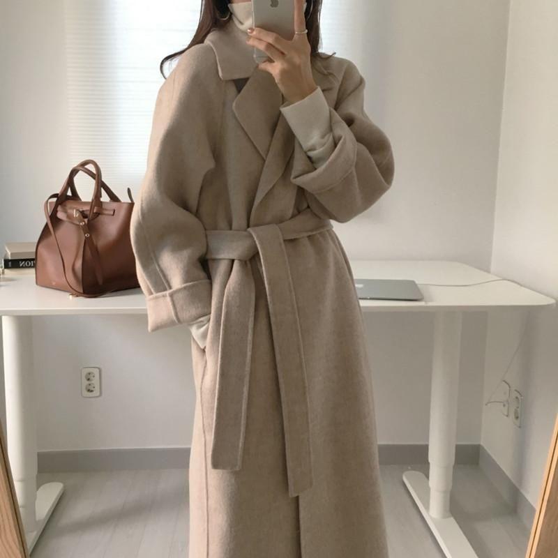 Женщины Elegant Long Wool Coat Solid Color Осень Зима Управление дамы с длинным рукавом Зубчатый Сыпучие Карманный Chic Верхняя одежда с поясом