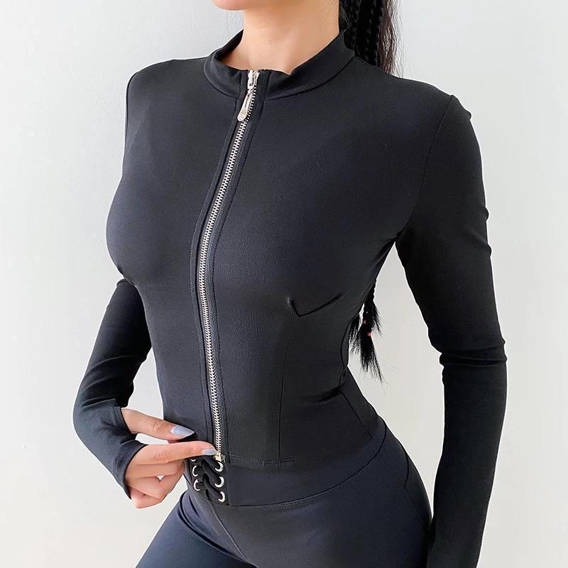 اليوغا قمم تشغيل سترات المرأة كم طويل زيبر للياقة البدنية اليوغا قميص أعلى تجريب رياضة Activewear الرياضة معاطف التدريب جاف سريعة