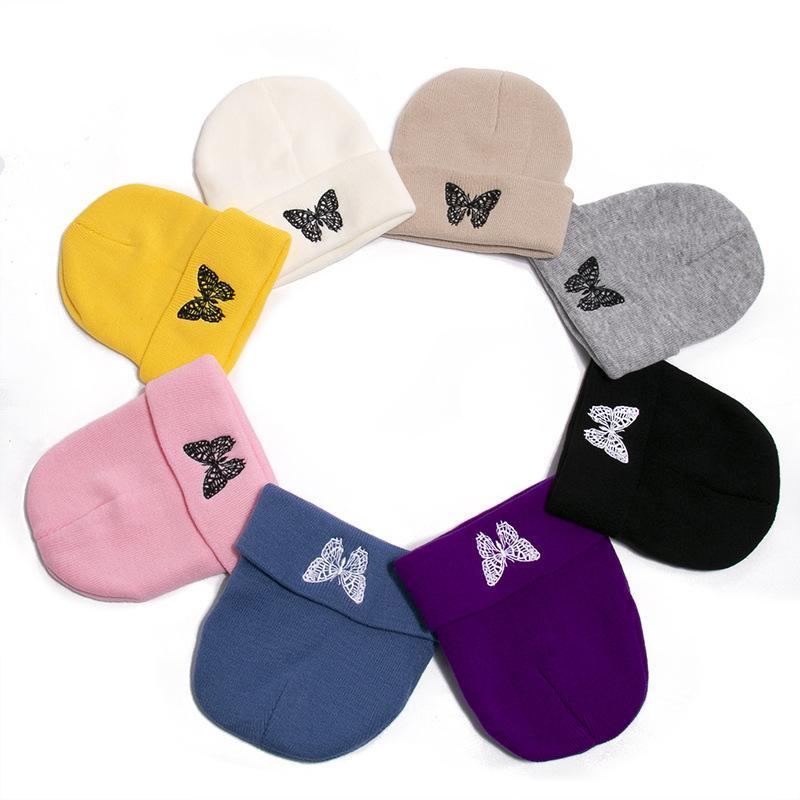 moda bere şapka Yeni stil kelebek sonbahar ve kış kazak şapka örme şapka sıcak ve yün şapka tutmak seyahatleri baskılı