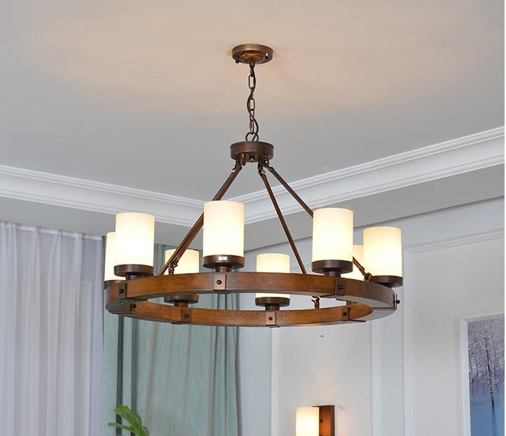 Retro Dorf perdant Licht amerikanische Holz-Rundeisen Lampe Kronleuchter für Villa / Wohnzimmer / Library / Museum / Retro Café