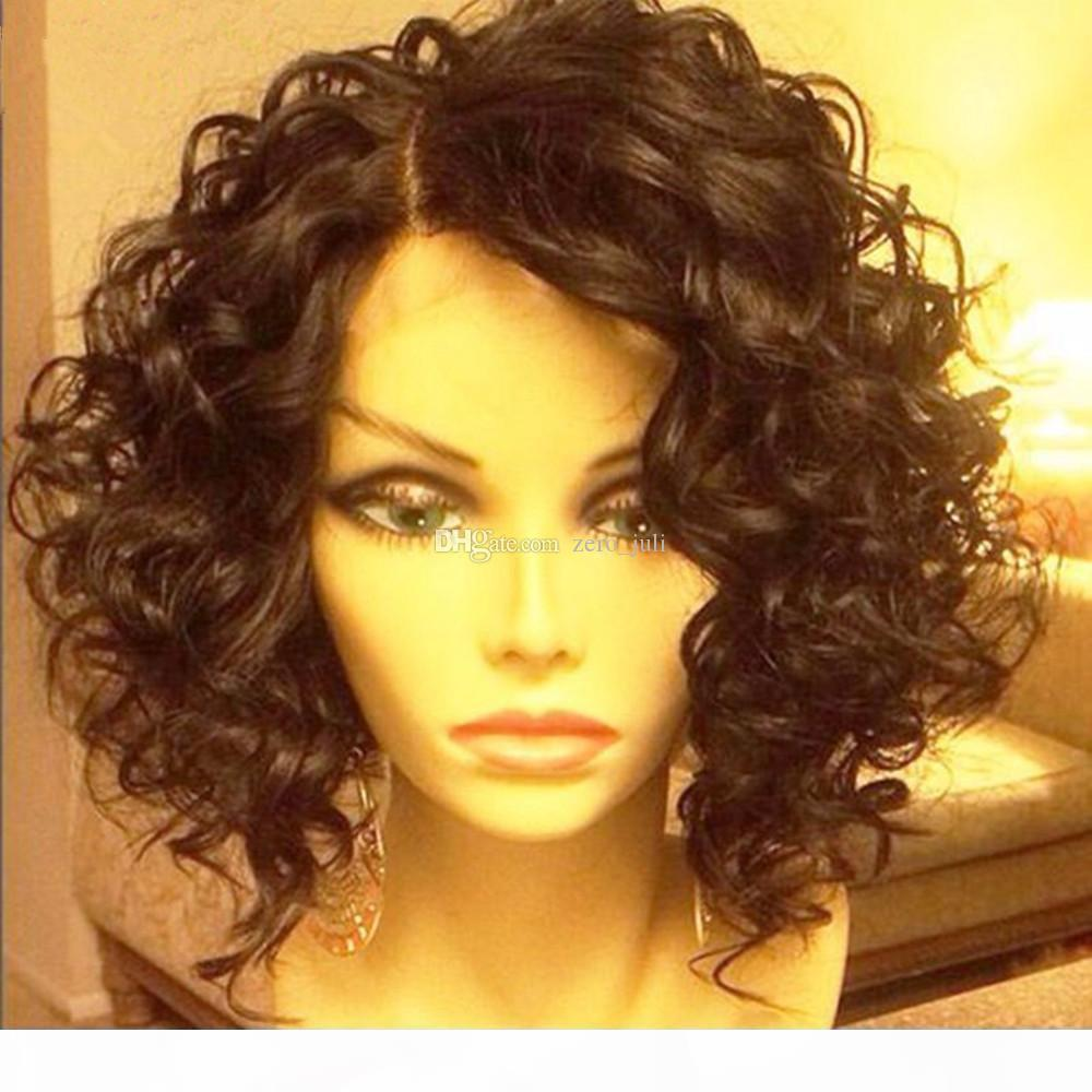 Glueless Human Hair Lace Front Wigs Black Women Curly Brazilian Full Lace Wigs With Baby Hair Bob Lace Wig Bleached Knots