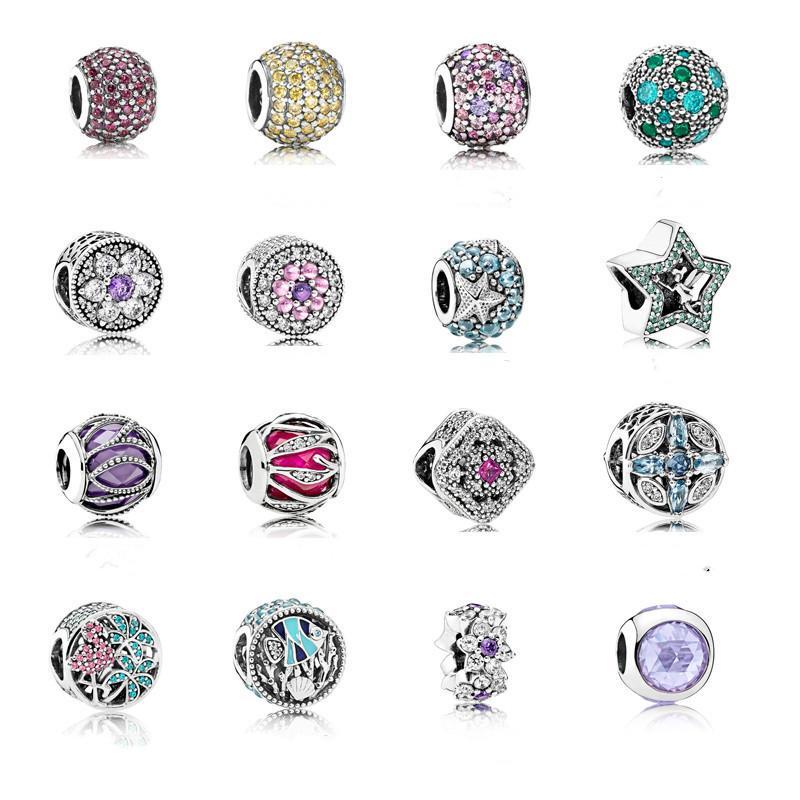 925 Sterling Silber Luxus Zirkon Frauen Schmuck Stern Blatt Fisch Europäischen Charme Streuung Perlen Fit Pandora Armband Halskette Anhänger DIY