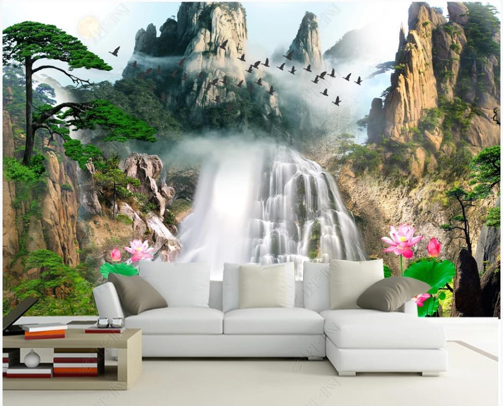 Пользовательские фото обои 3d росписи обои современные пастырские лесные горные водопад олень украшение оленей живопись телевизор диван фон