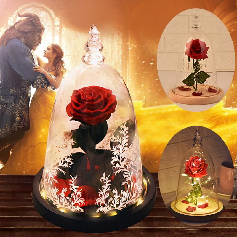 Искусственные цветы красоты и зверя Вечный цветок со светодиодной ночной лампой огни Рождественские подарки на день рождения для девушки 201222