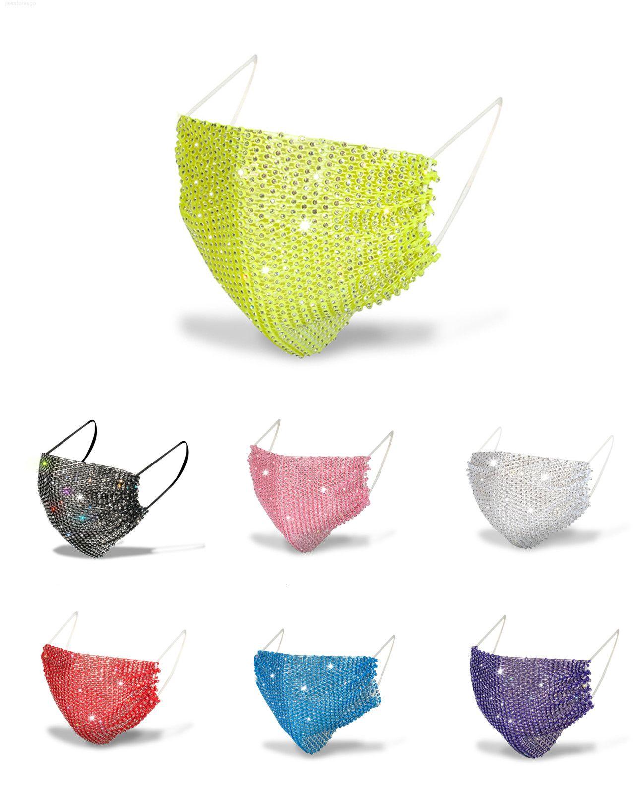 Lavabili riutilizzabili paillettes Viso Bling di paillette Lady Salon maschere di cotone antipolvere Maschera di protezione