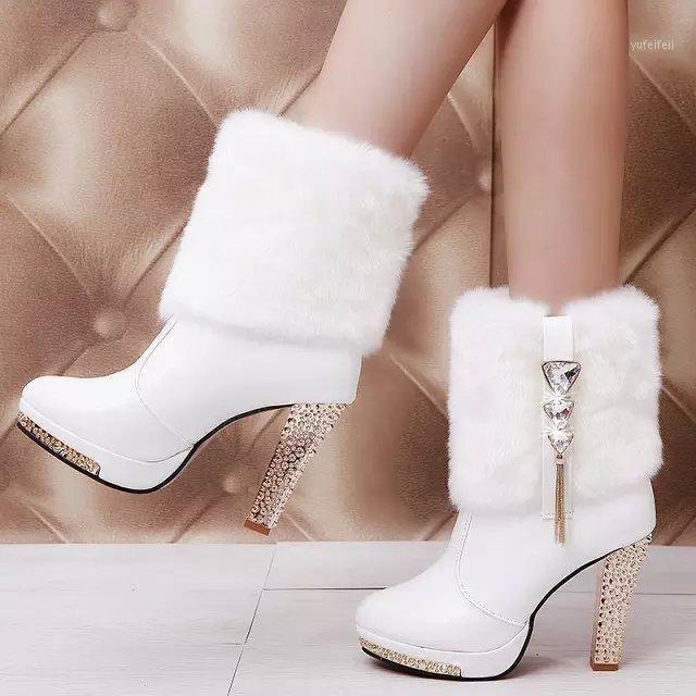 Chaussures Femmes Automne Hiver Nouvelles bottes courtes Étanche High Heel Talon épais avec bottes pour femmes strass décoratif1