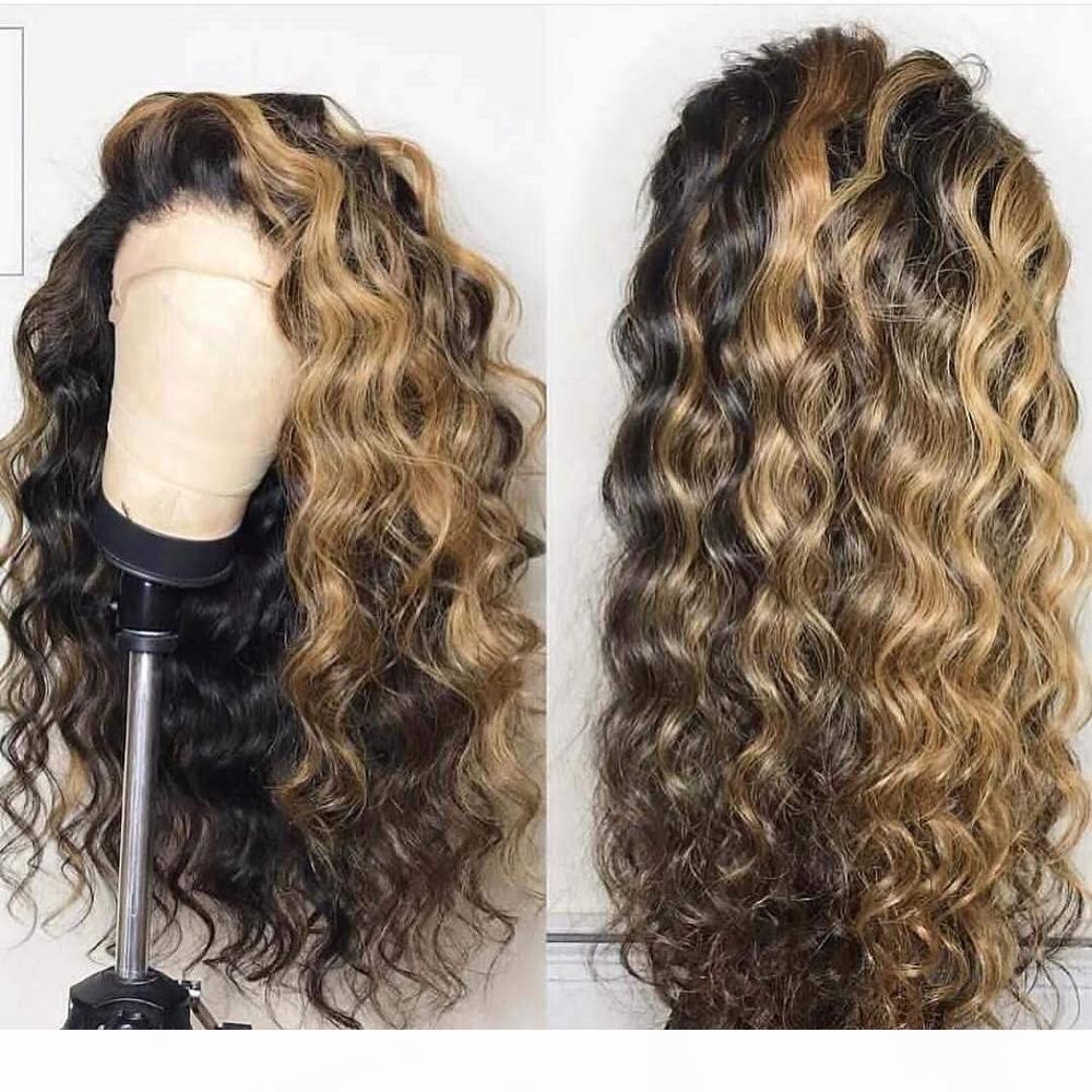13x6 Frente de encaje Frente Pelucas de cabello humano Braylian 360 Pelucas frontales de encaje Preparadas con cabello para bebés Destacados de onda sueltos Honey Blonde Encaje completo