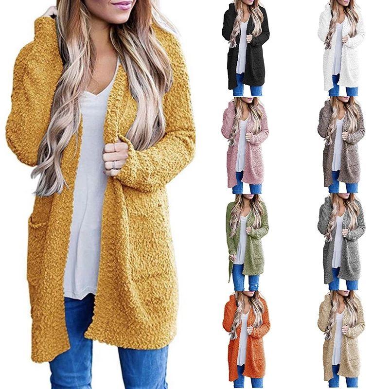 2020 양털 카디건 여성 두꺼운 따뜻한 가을 겨울 스웨터 여성 느슨한 부드러운 카디건 니트 아웃웨어 점퍼 자른 카디건