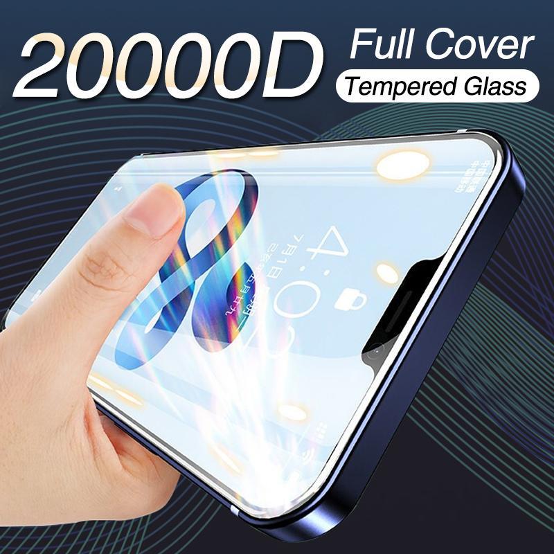 Vidrio de cubierta completa de 20000D en para iPhone 12 Pro 11 Pro Max Pantalla Protector para iPhone XS MAX XR XR X 12 Mini protector de pantalla