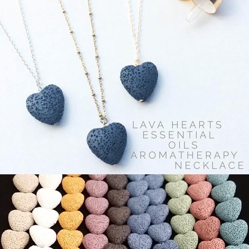 القلب الحمم الصخور قلادة قلادة 9 ألوان الروائح الضرورية النفط الناشر قلادات حجر على شكل قلب للنساء الأزياء والمجوهرات 444 Q2