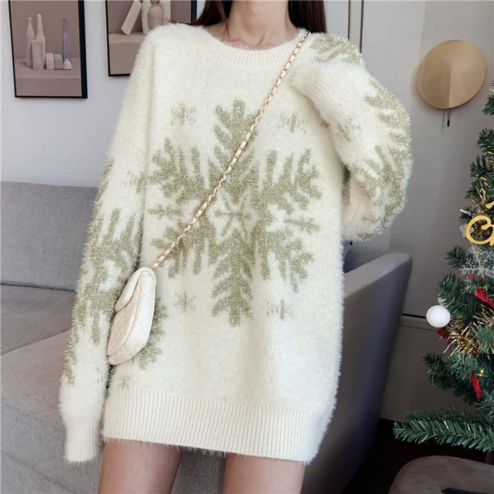 Pull long Pull 2020 femmes Imprimer Thicken Mode Automne Hiver Vêtements de loisirs Coréen Japonais Femme Nouvelle Knit en vrac Slim Q1115