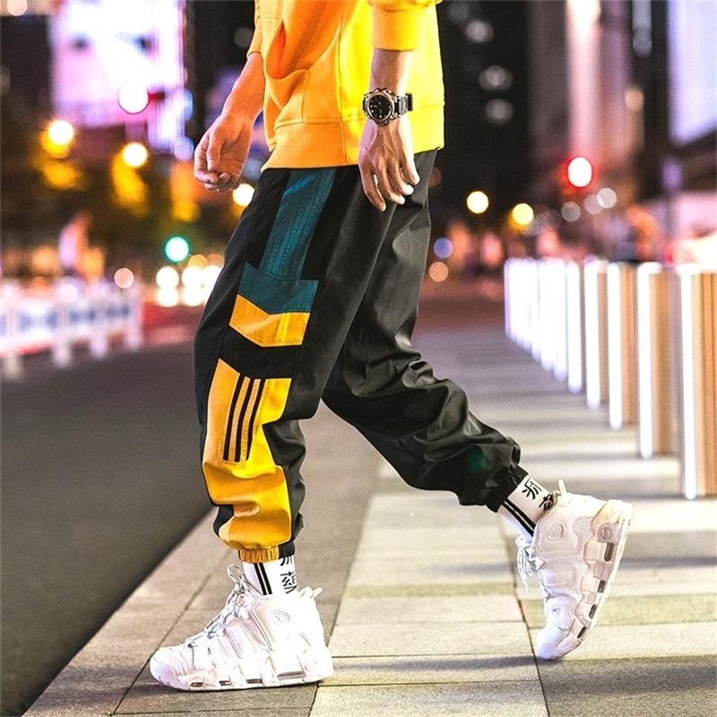 ABRIL MOMO Casual Rayado Moda suelta Hombres Pantalones Sweat Pantalones Deportes Japonés Streetwear Joggers Sweetpants Y201123