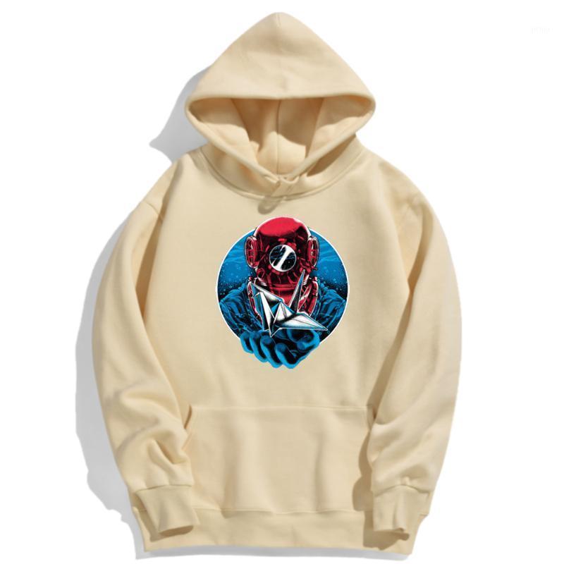 Дайвер складки под океанской печати Новые осени Мужчины с капюшоном Большое высокое качество Мужская одежда Harajuku модный бренд Мужской Hoody1