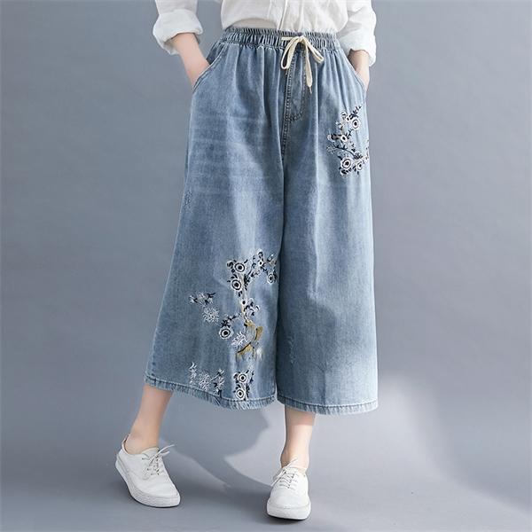 Yaz 7 Puan Çiçek Işlemeli Denim Capri Pantolon Kadınlar için Geniş Bacak Kırpılmış Kot Pantolon M L XL 2XL 3XL 4XL W0104