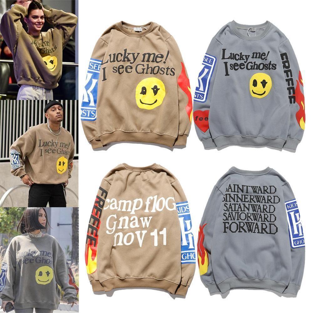 Kanye نمط الحفل هوديس الرجال هوديس البلوز يبتسم وجه الطباعة بلوزات الطاقم الرقبة سترة للرجال والنساء