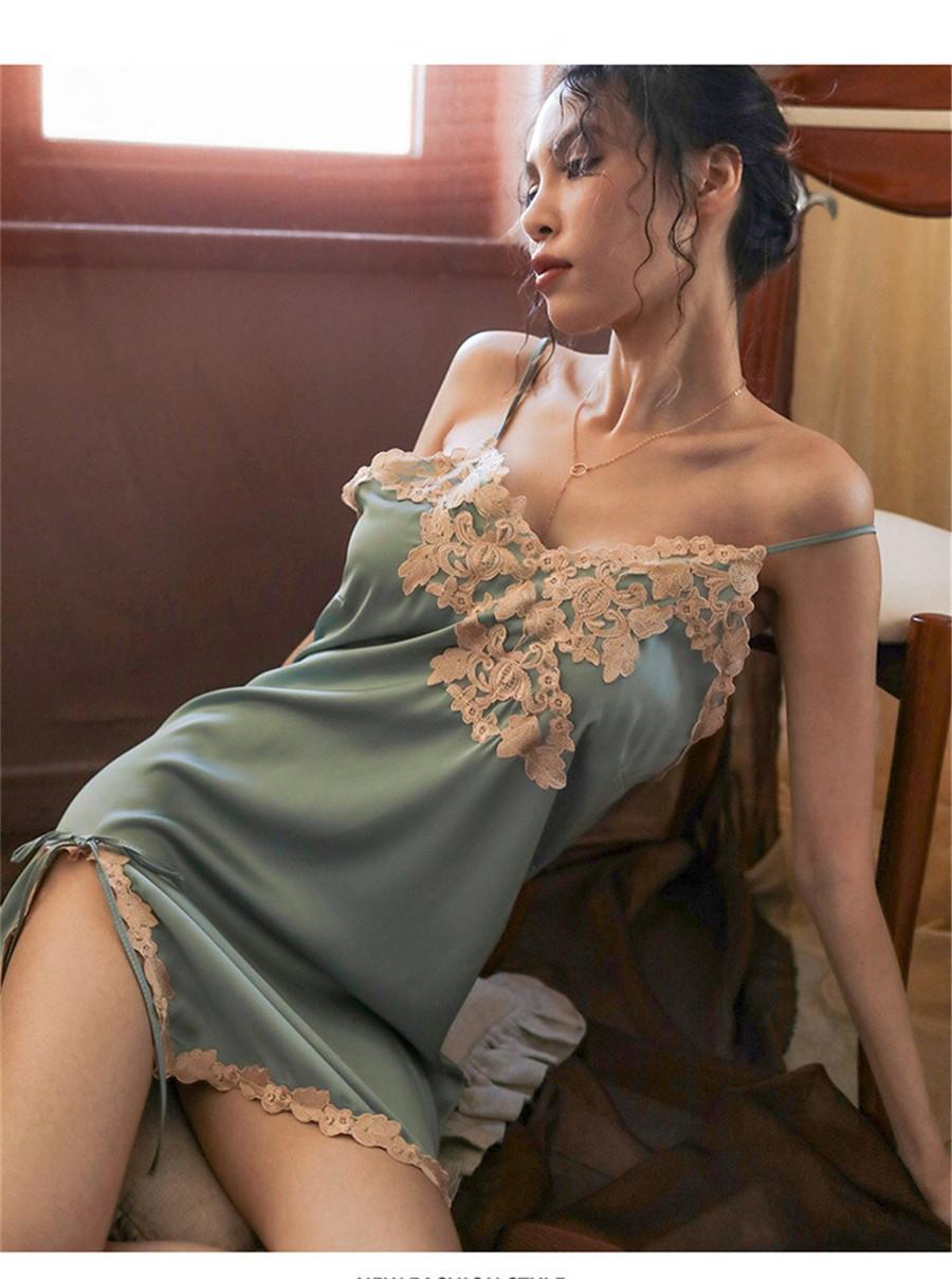 Seide Paar Home Pyjamas Womensummer Slip Dress Shorts Cardigan Solide Farbe Home Wear Sport Freizeit Dünne Menpajamas # 786