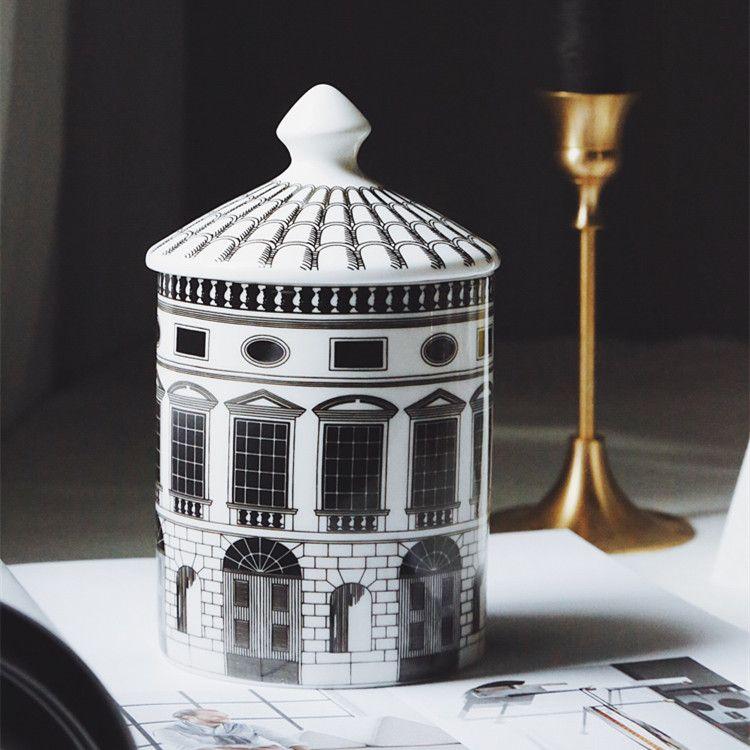 Casa de cerámica Soporte de vela DIY Castillo hecho a mano Caramelo Jar Vintage Barjetero de almacenamiento CAFT Decoración del hogar Decoración Jewerlly Caja de almacenamiento