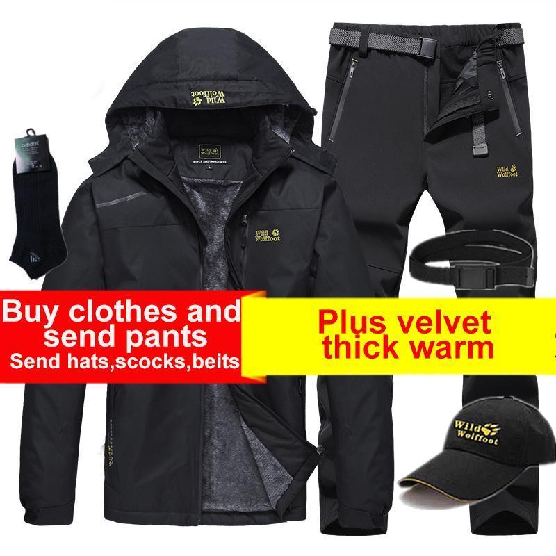 야외 재킷 낚시 스키 양복 남자 캠핑 하이킹 재킷과 바지 겨울 방수 방풍 열 양털 라이너 등산 천