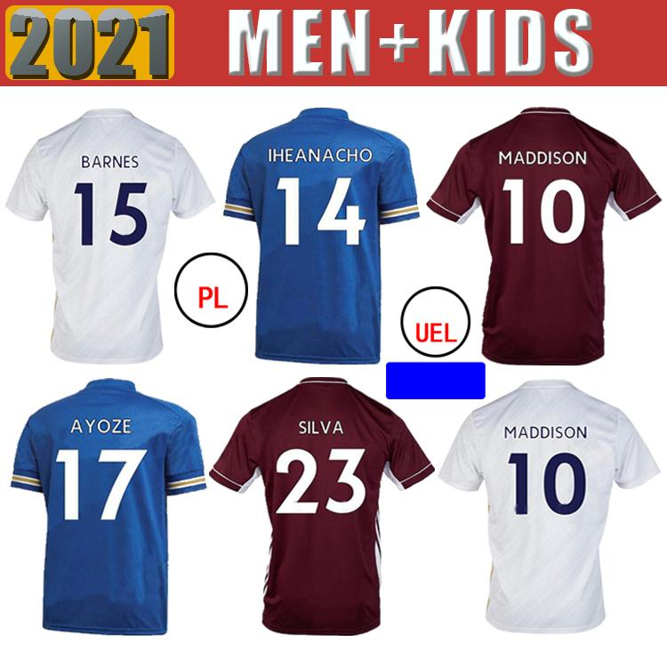 2020 New Soccer Jersey Vardy Ricardo Ndidi Maddison Tielemans Chilwell Barnes Ricardo 2021 Accueil Kit adulte Kit de haute qualité Football SH