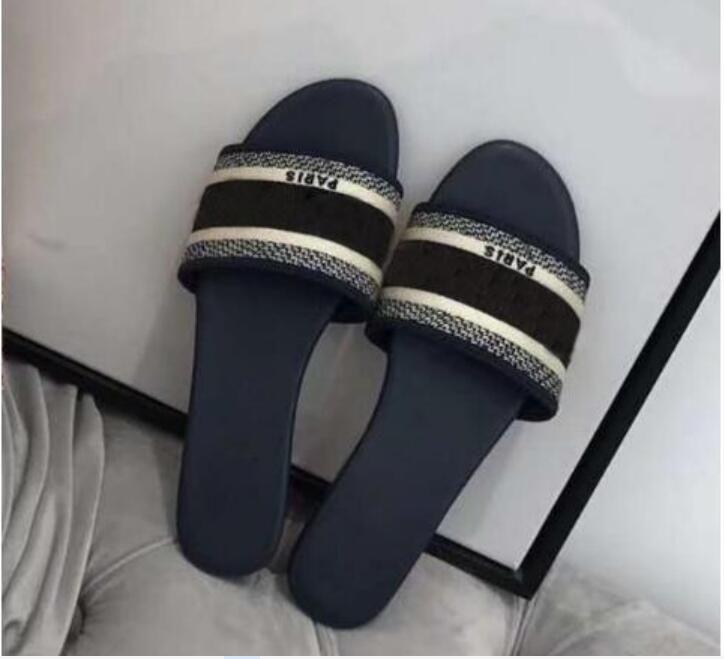 Boyutu 35-42 Yeni Siyah Renk Çizgili Sandalet Denim Düz Terlik Ayakkabı Bayanlar Yaz Açık Plaj Nedensel Flip Flop Hakiki Deri Sole Kutusu
