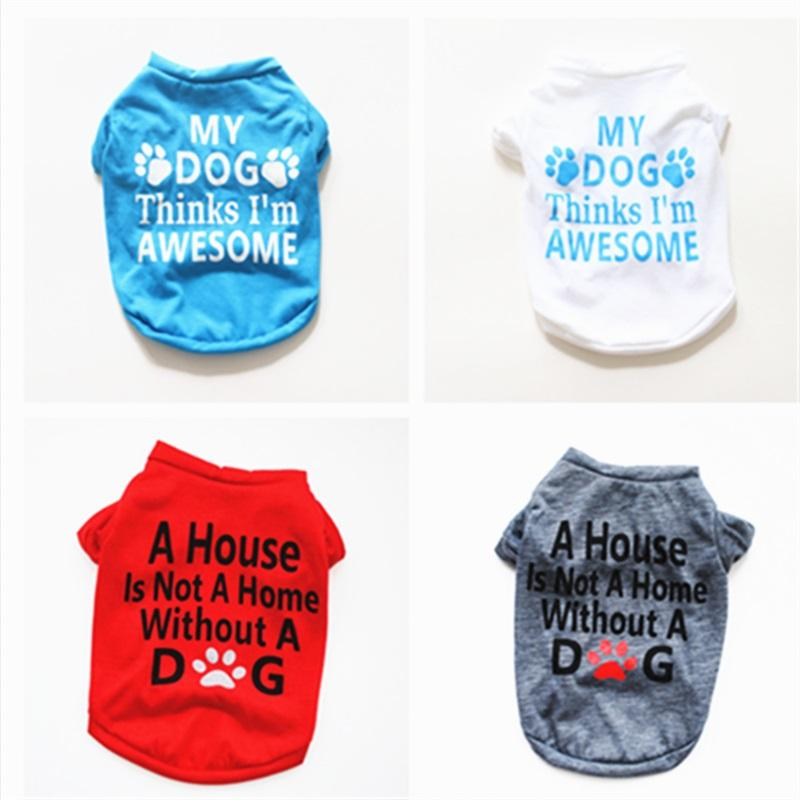 Pet Clothes Fashion Multi Color Spring Summer Clothing Soft Dog Paw Letter Print Puppy Coat Short Sleeve Hot Sale 4 5yeb P2