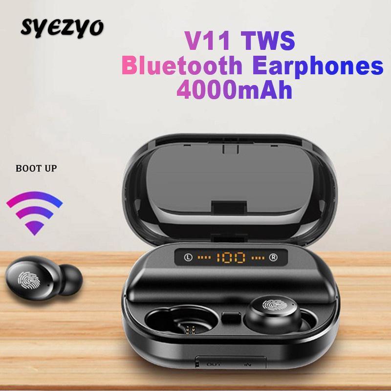 V11 TWS Bluetooth Беспроводные наушники Музыка для наушников большой емкости батареи Спорт Earbud Бизнес Headset Работа на всех смартфонах