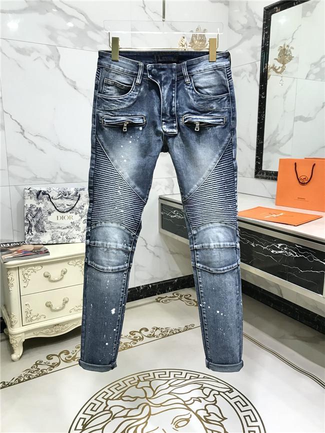 Прибытие Bal-джинсы мужские дизайнерские джинсы Мода Ripped Байкер Slim Fit Мотоцикл Байкер Zipper конструктора Hot Hip Hop Продажа джинсовой США Размер 29-42