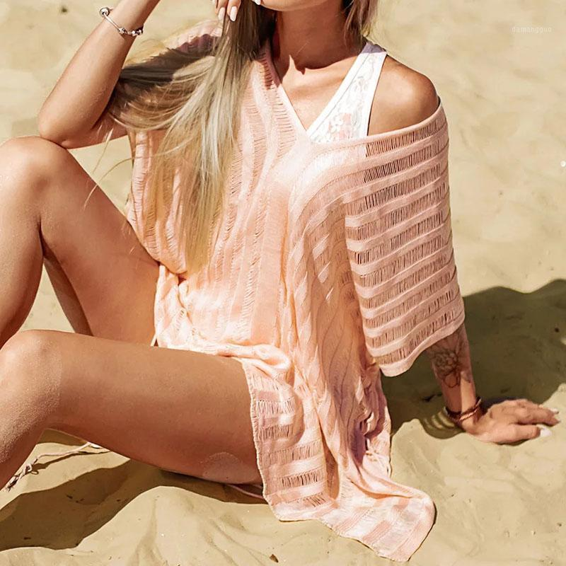 Woman Dress Summer Dress 2020 Sexy White Hollow Beach Clothes Robes Robe Dresses for Women Maxi Pink White Color1