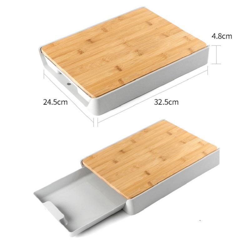 Çekmece Tipi Bambu Kesme Tahtası Çevre Koruma Plastik Çok Fonksiyonlu Kalınlaşmış Doğrama Kurulu Depolama Kesme Tahtası PPD3809