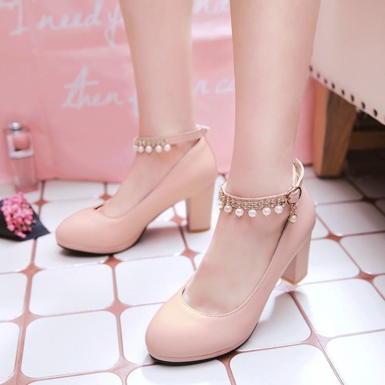 Übergröße 12 13 14 15 16 17 Damen hohe Absätze Frauen Schuhe Frau pumpt Perle Einzel Schuh Drill mit runden Kopf und rauer Ferse