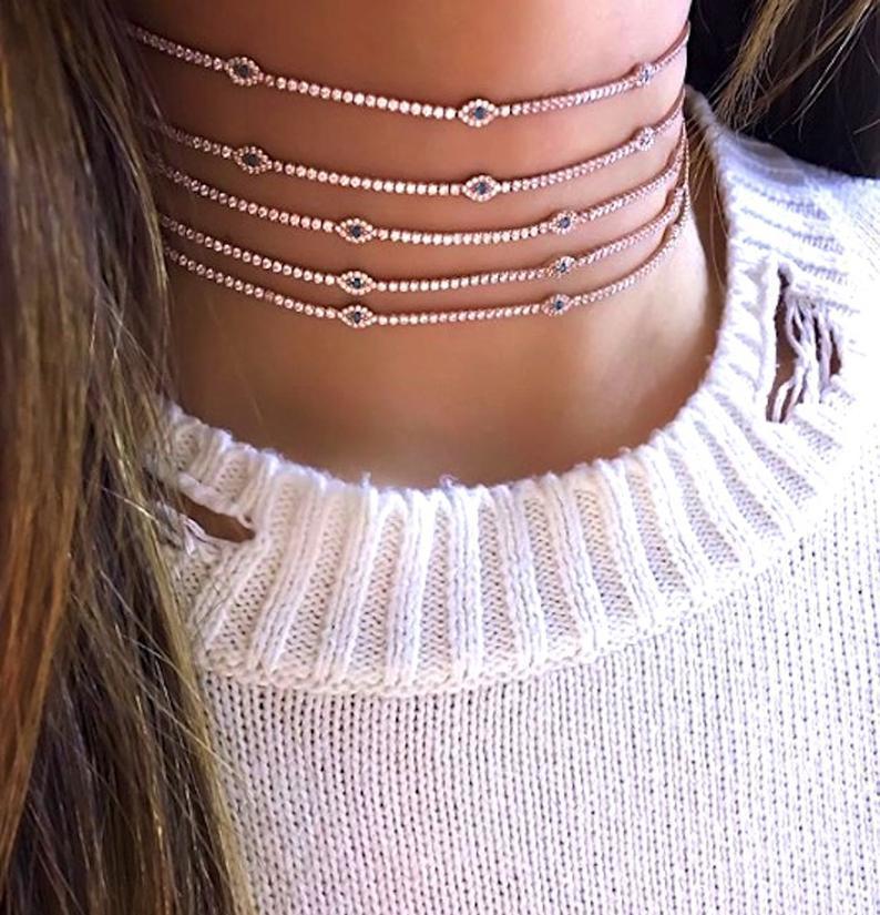 2020 Mode Zarte CZ Station Glück türkisch Böse Auge Charme Zierliche Choker Collarbone Entzückende Frauen Mädchen Tennis Kette Halskette Y1220