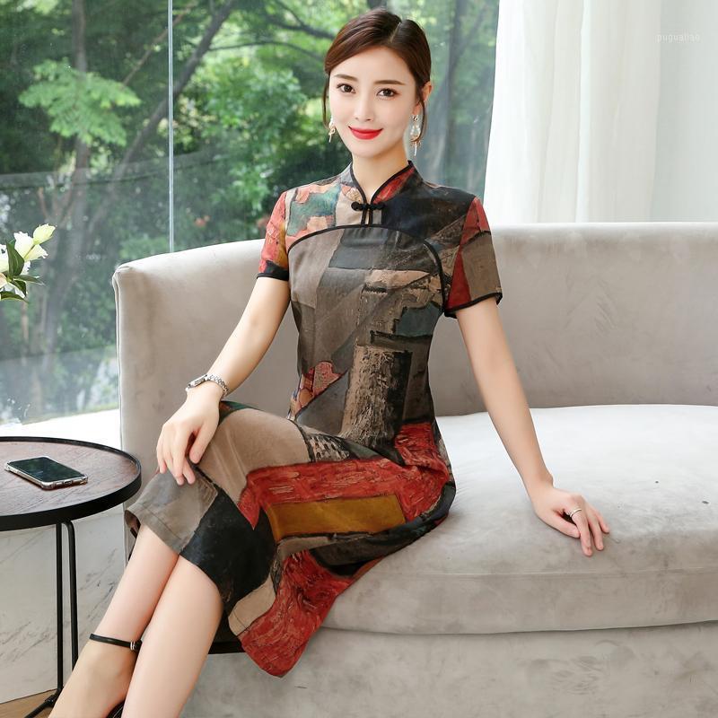 Abiti casual 2021 estate abito vintage migliorato cheongsam manica corta stampa geometrica stampa retrò elegante signora vestidos1
