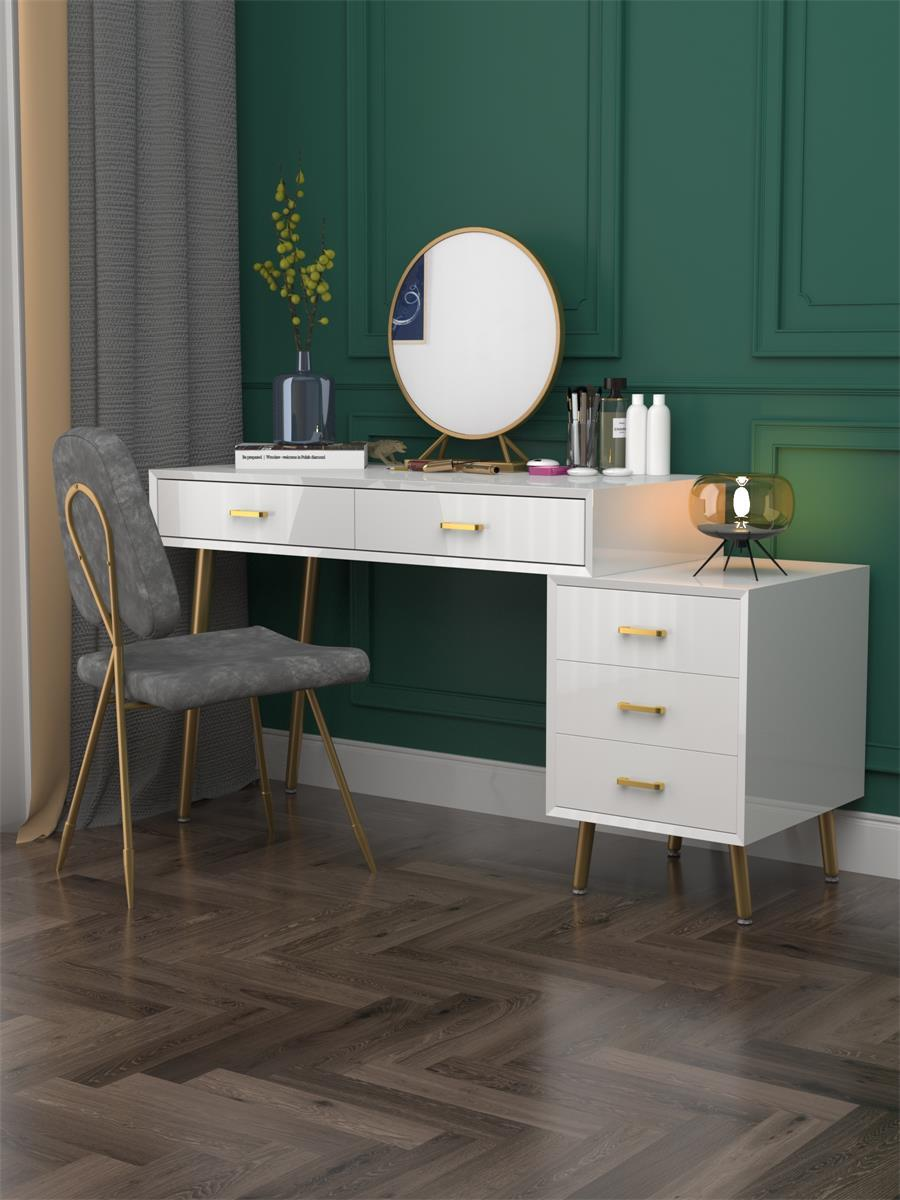 Nordic Dresser for Bedroom Modern Minimalist Dressing Table and Chair with Mirror Golden Wrought Iron Leg Living Room Furniture