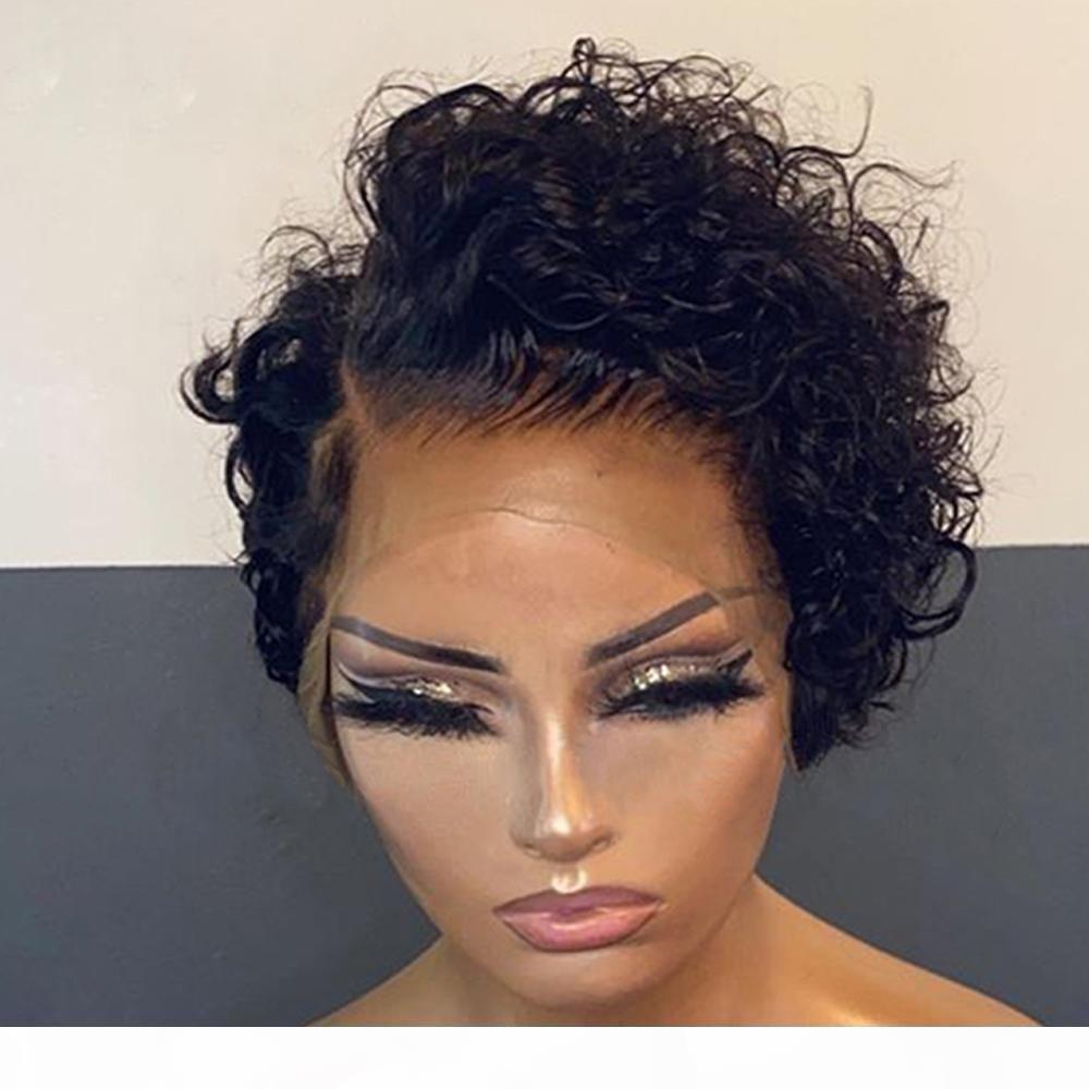 Pixie Cut Kıvırcık Bob Peruk İçin Siyah Kadınlar Öncesi Mızraplı Brezilyalı Virgin İnsan Saç Tam Dantel Peruk ile Bebek Saç Dantel Açık Peruk