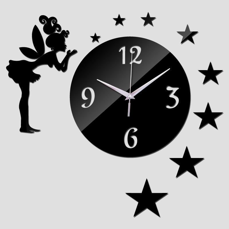 Nueva llegada relojes de pared bricolaje Espejo Hada cuarzo de acrílico moderno reloj de moda la decoración del hogar del estilo del reloj de reloj