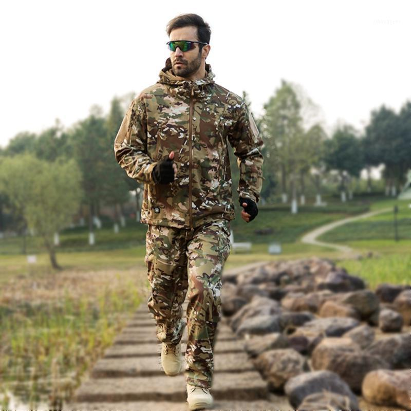 Камуфляжный костюм куртка брюки установлены мужские акульскинские открытый охотничий грими Ghillie Sniper Sniper Camo Camping водонепроницаемый мягкий флисовой куртку1