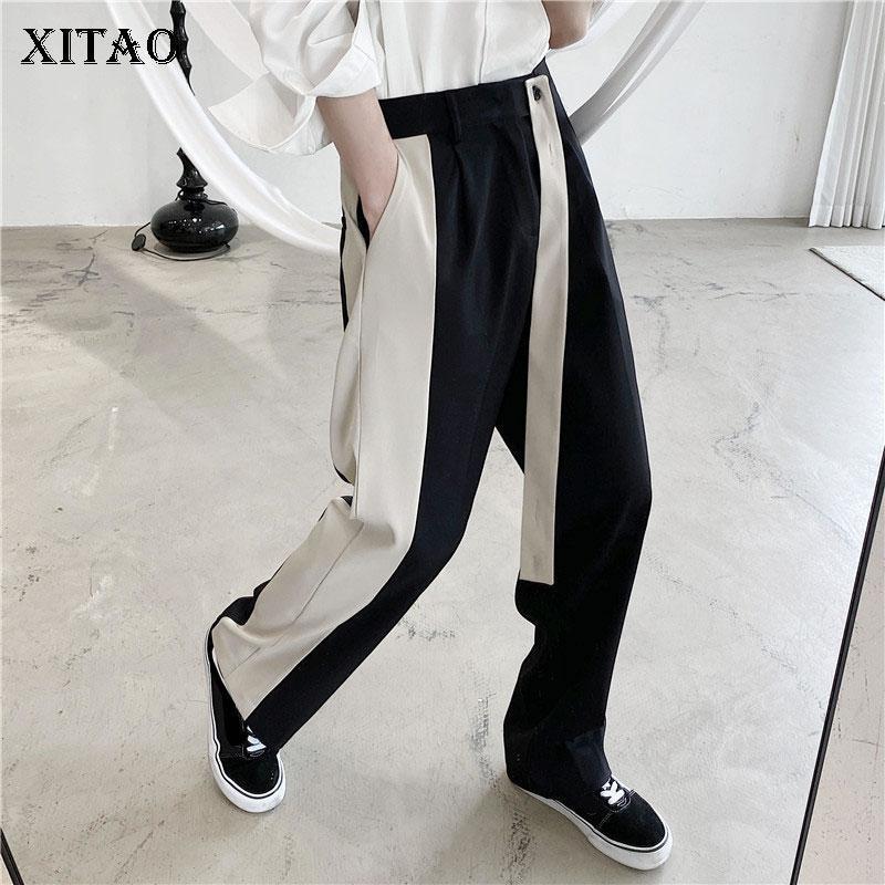 Xitao Contrasto Colore Splifics Bandage Pantaloni di Bendage Moda allentato Casual Elastico Vita Donne Pants Autunno e inverno Il nuovo ZXR1051