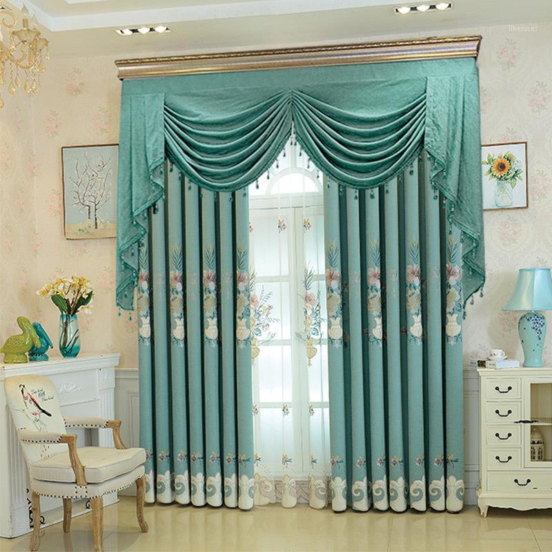 European Style Light роскошная современная ваза изысканная бархатная вышивка занавес для виллы гостиной спальни шторы пользователь1