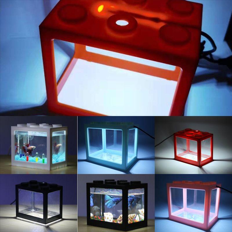 YOB4F Mini Akvaryumlar Aksesuarları Işık Hava Pompası Lego Blokları Peyzaj Kabarcık Pompa Havalandırıcı Akvaryum Balık Tankı Balık Tankı Dekorasyon