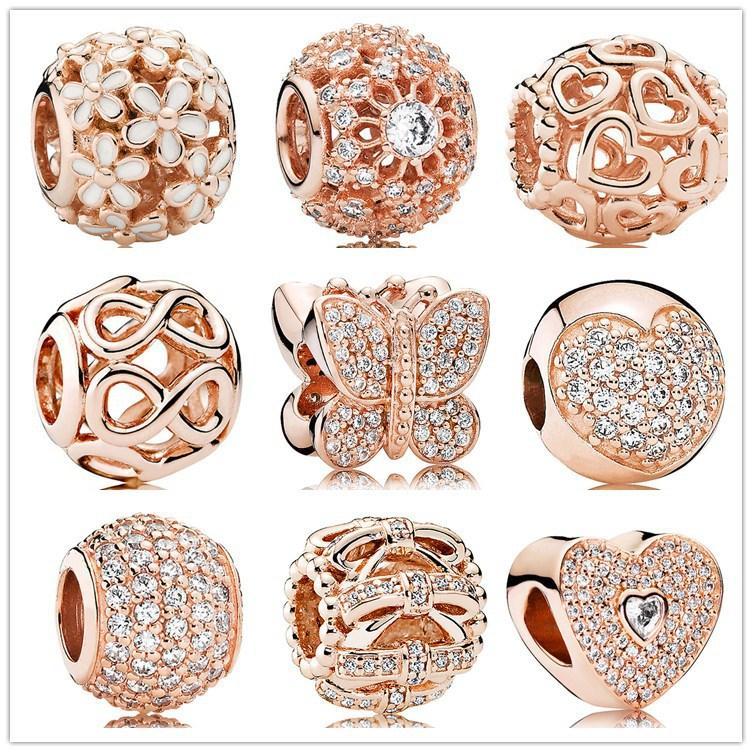 Authentische 925 Silber Perlen Geometrische Facetten Rose Gold Slide Perle Charme Fits European Pandora Stil Schmuck Armbänder Murano 791722Nbs
