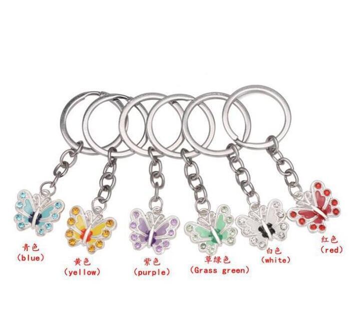 Vintage Silvers Cristal Butterfly Bague porte-clés pour clés de voiture bricolage sac à main chaîne sac à main Bijoux cadeau Accessoires PS2287